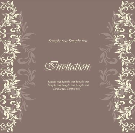Tarjeta de invitación floral Ilustración de vector