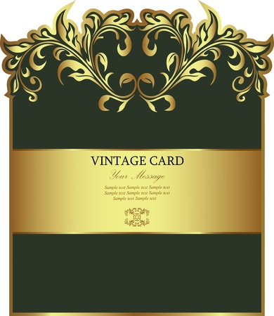 wine label design: Green with gold floral label