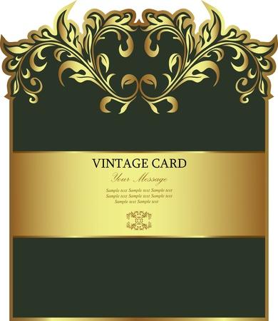 wijn en spijzen: Groen met gouden bloemen label