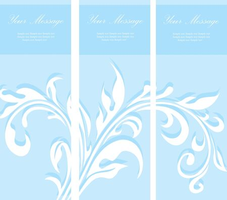 triptych: Set of blue floral invitation cards Illustration