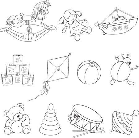 Set of outlined baby s toys  Vector