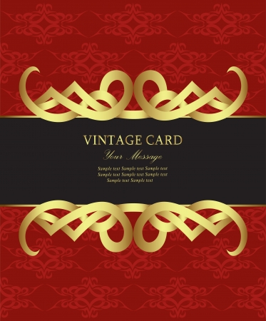 Red with gold vintage card  Vector