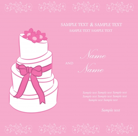 Wedding invitation or announcement with wedding cake  Vector