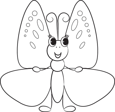 Cute cartoon butterfly  Vector