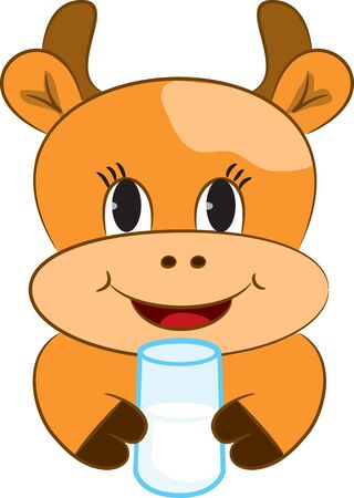 Cartoon baby cow with glass of milk Vector