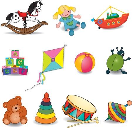 pull toy: Bebé s juguetes Vectores