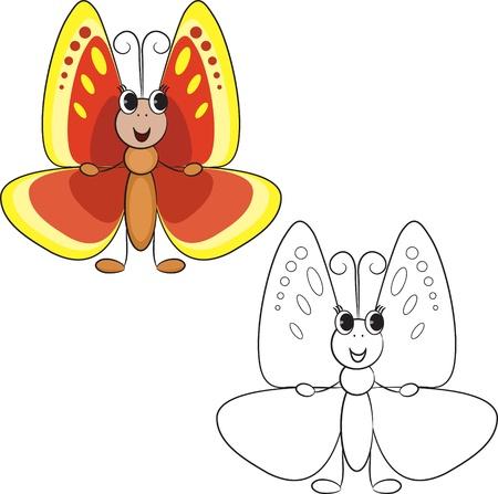 cartoon butterfly: Colorear mariposa libro lindo de la historieta