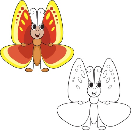outlined isolated: Coloring book  Cute cartoon butterfly