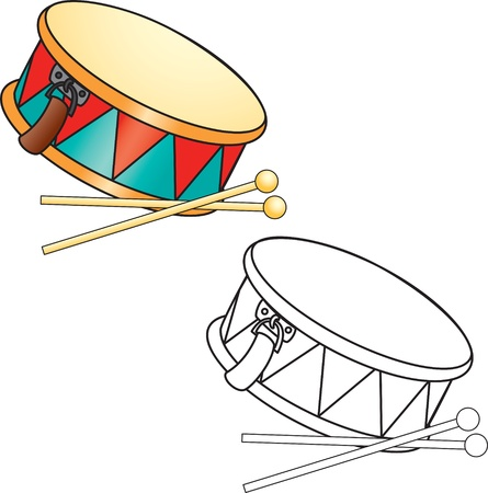 outlined isolated: Coloring book  Drum and drumsticks