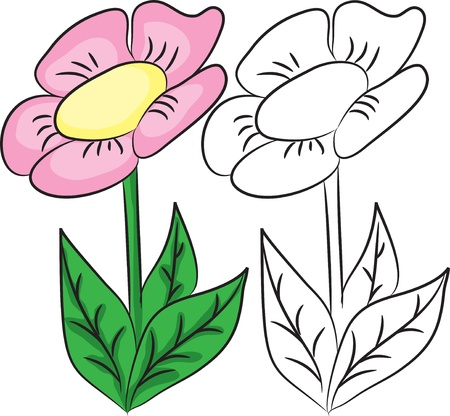 clip art draw: Coloring book. Cartoon flower