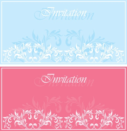 Set of invitation vintage cards with floral ornament Vector