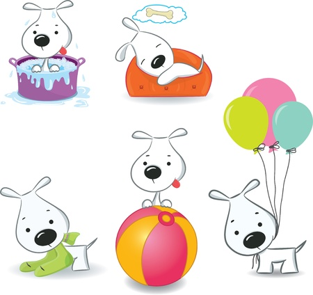 A set of funny puppies.Isolated on white. Stock Vector - 15582089