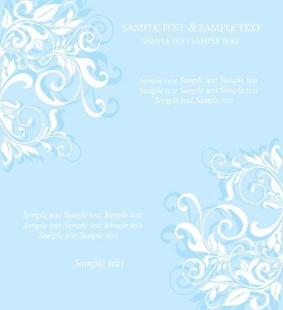 Vintage blue floral invitation card.