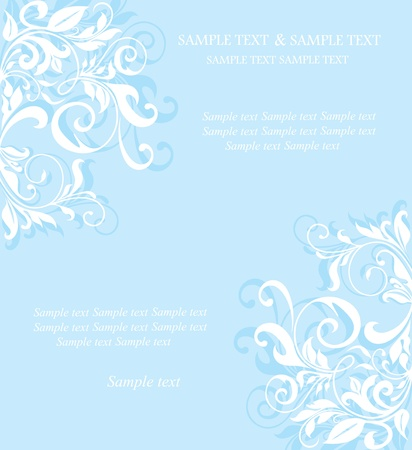 Vintage blue floral invitation card. Vector