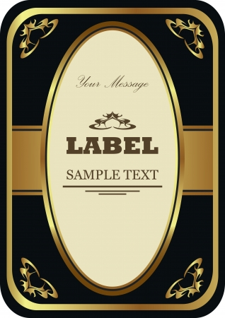 booze: Luxury gold-framed label  Vector