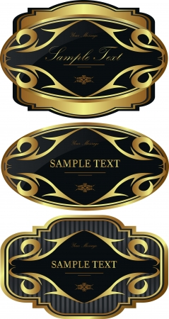 Luxury gold-framed labels vector set Stock Vector - 15582086