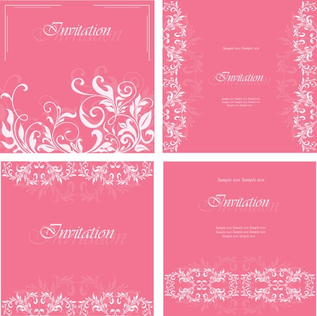 Set of invitation floral cards Vector