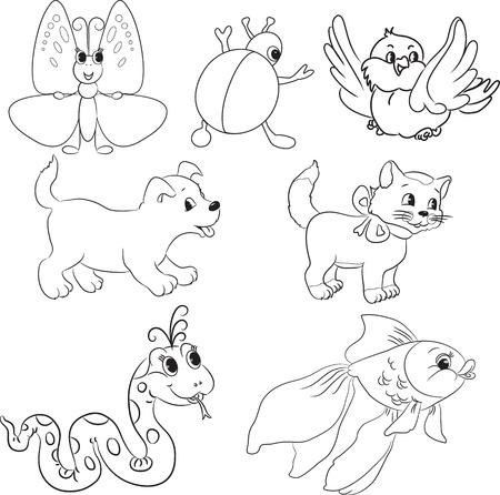 Insieme di vettore degli animali delineato del fumetto Libro da colorare