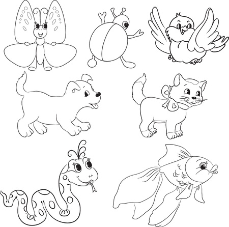 Vector set of outlined cartoon animals  Coloring book  Vector