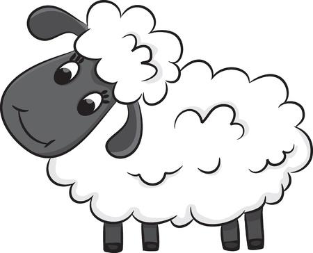 oveja: Ovejas de la historieta Ilustraci�n vectorial