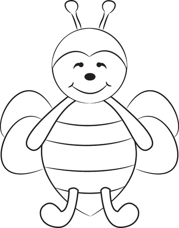 Cute cartoon bee  Vector illustration Stock Vector - 15582055