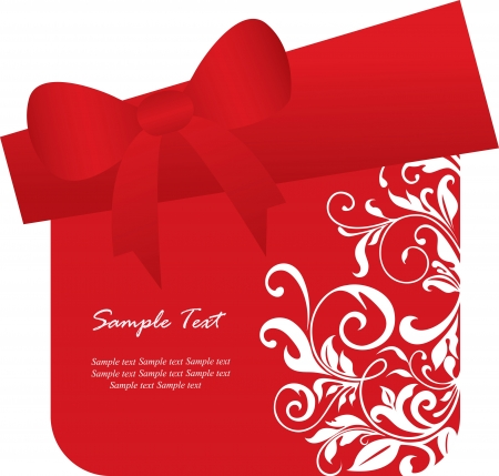 Red gift box card  Vector illustration  Vector