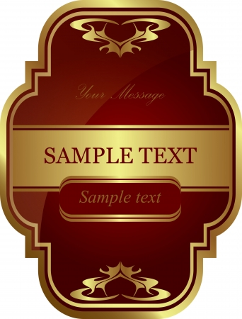 framed: Red gold-framed label  Vector