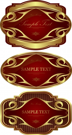 Luxury gold-framed red labels vector set Vector