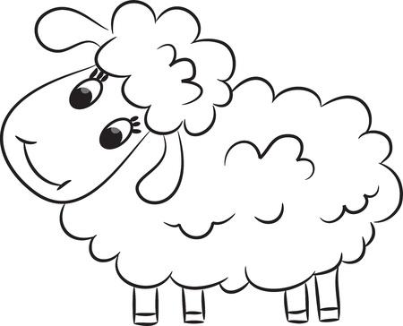 pecora: Cartoon pecore Illustrazione vettoriale