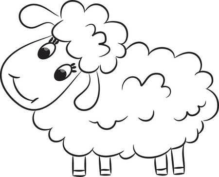 mohair: Cartoon sheep  Vector illustration