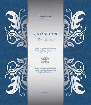 Floral silver vintage card Stock Vector - 15582092