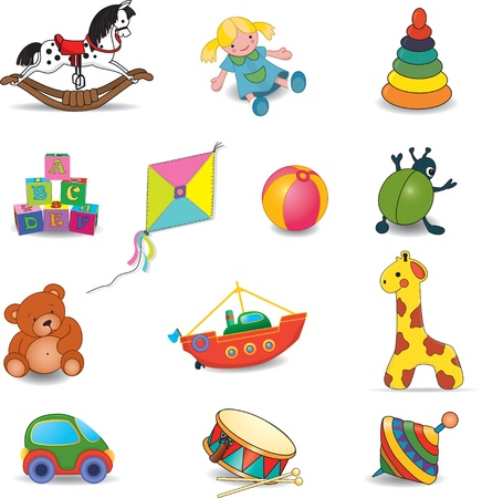 toy boat: Baby s toys set Vector illustration