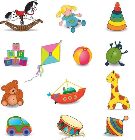 pull toy: Los juguetes del bebé s establecer ilustración vectorial