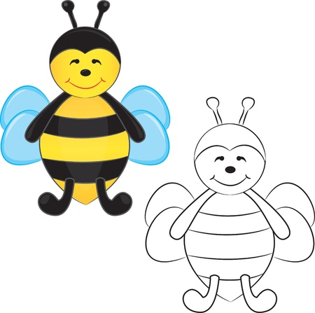 Cute cartoon bee. Coloring book.  Vector