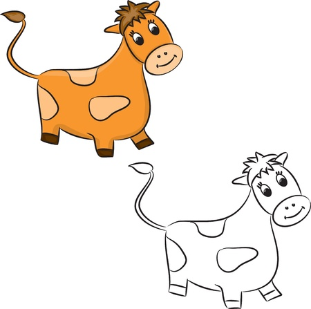Cartoon cow. Coloring book. Vector