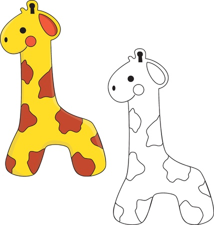 cute giraffe: Cute Giraffe Toy. Coloring book. Vettoriali