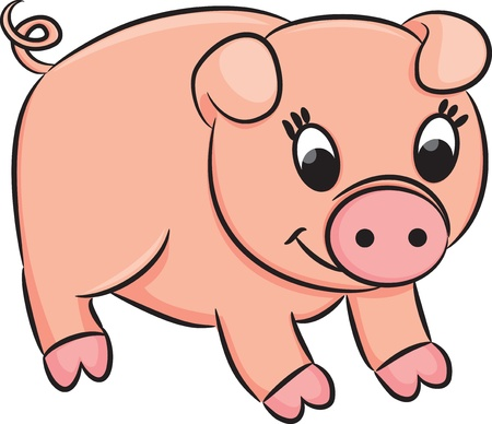 Cartoon pig.  Vector