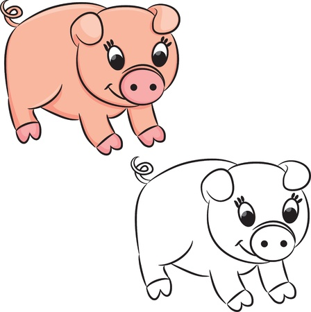 outlined: Cartoon pig. Coloring book.
