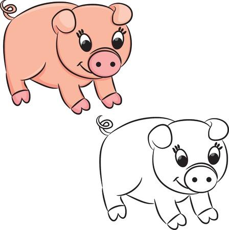 outlined isolated: Cerdo de la historieta. Libro de colorear. Vectores