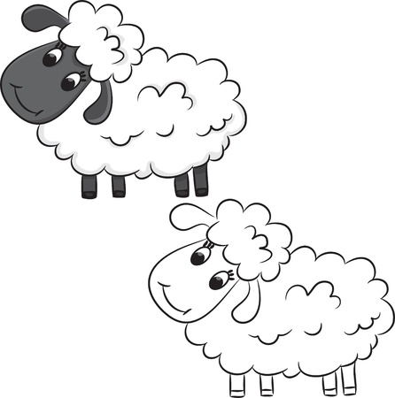 Cartoon sheep. Coloring book. Vector