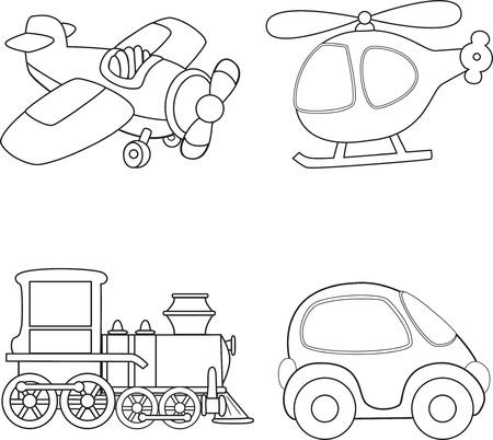 locomotora: Cartoon transporte. Libro para colorear. Vectores