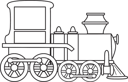 steam locomotive: Outlined cartoon train toy.