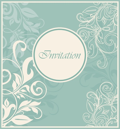 Damask invitation vintage card with floral elements. Vector