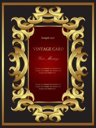 Golden card. Background. Vector