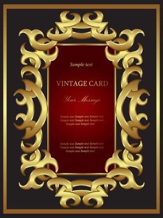 elegant border: Golden card. Background.
