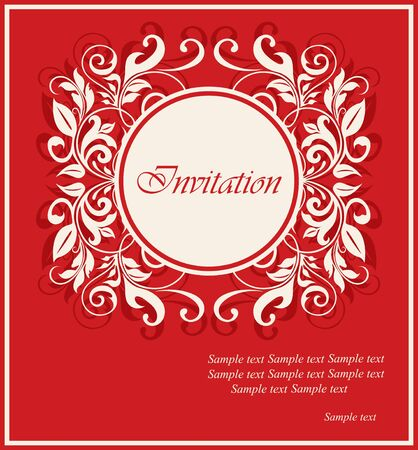 Red invitation vintage card with floral elements. Vector