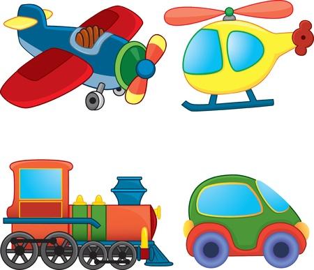Juguetes de transporte. Ilustración de vector