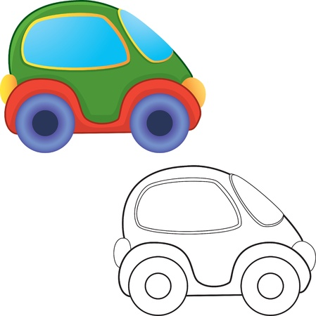 toy car. Coloring book. Vector