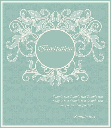 Damask floral vintage card  Vector