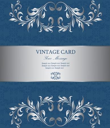Floral silver vintage card Stock Vector - 15805404